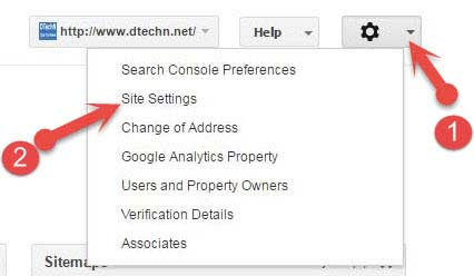 Search console site settings