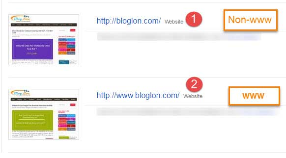Submit Both Property www and non www in search console