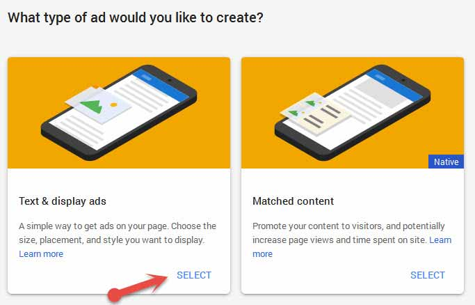 What type of ad would you like to create