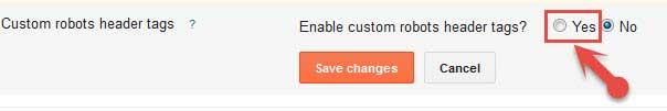 enable Custom robots header tags settings
