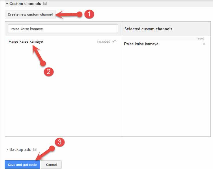 make custom channel in google adsense