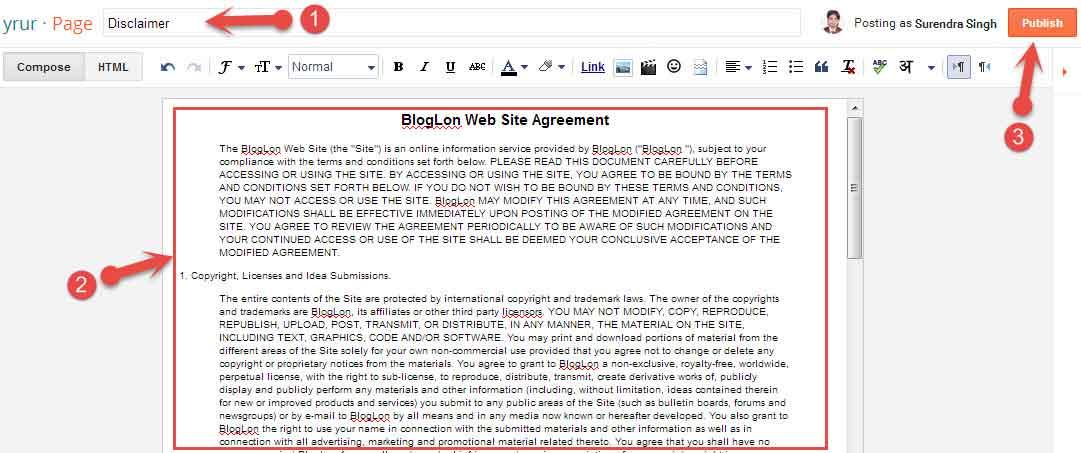 Blogger Blog Me Disclaimer Page Kaise Banaye