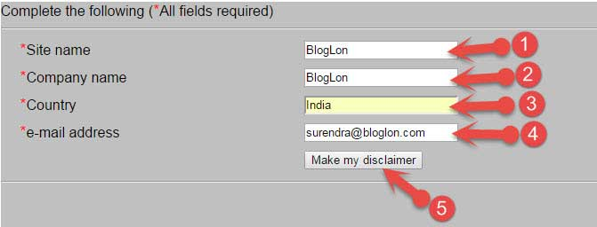 Create online Disclaimer