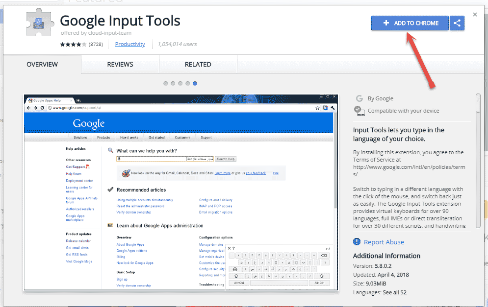 google input tools chrome extension