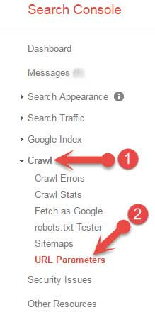 Search console URL Parameters feature