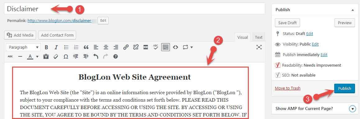 WordPress Blog Me Disclaimer Page Kaise Banaye