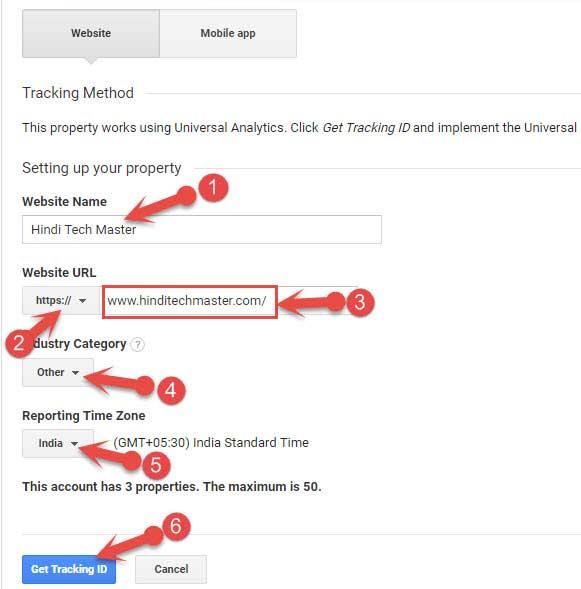 Add New Property in Google Analytics