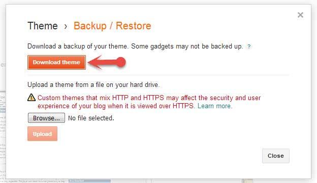 Download Blogspot theme Backup