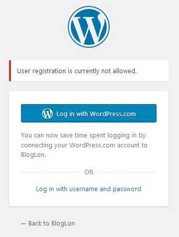 wordpress new user registration not allowed