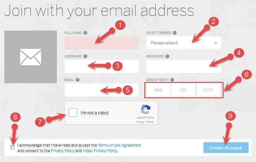 Myspace signup form