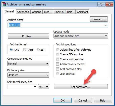 Winrar set password option