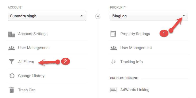 analytics filter settings