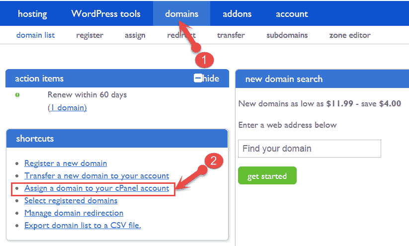 Assign a domain to bluehost cpanel