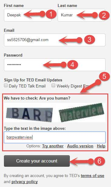 Create account on ted.com