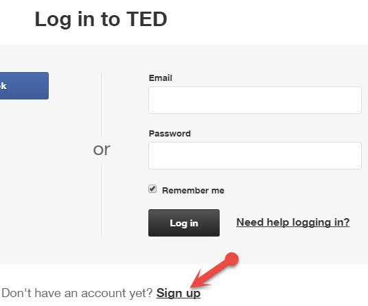 Signup on ted.com
