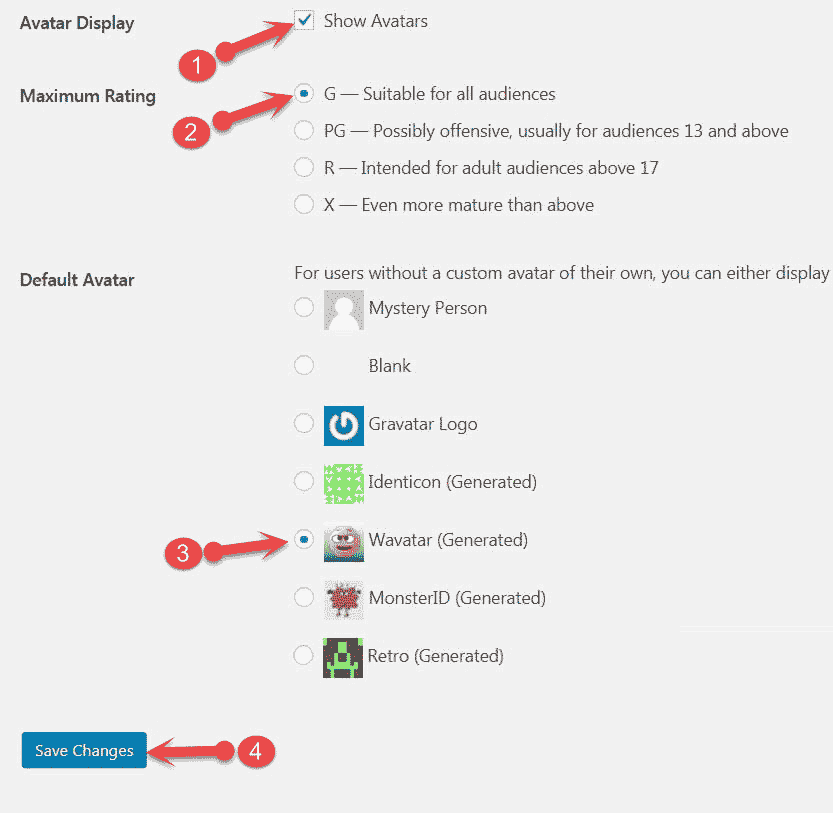 Wordpress Avatars settings
