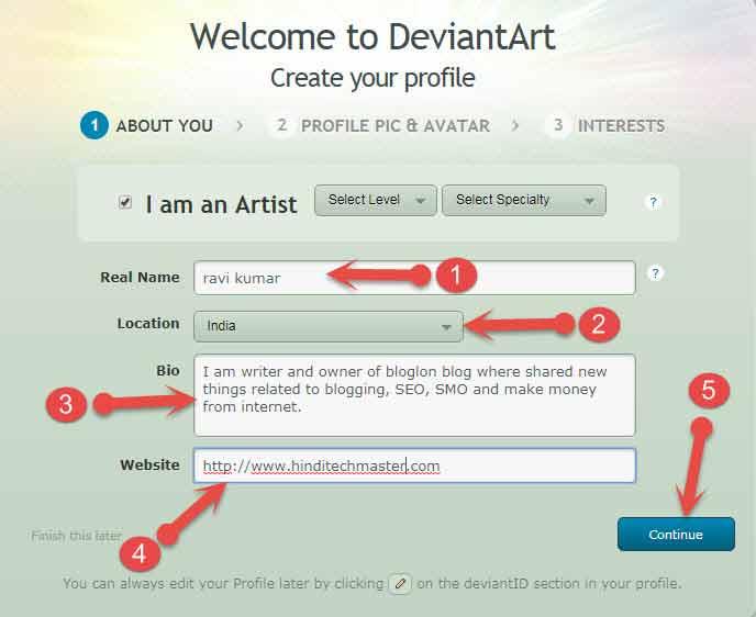 complete Deviantart profile