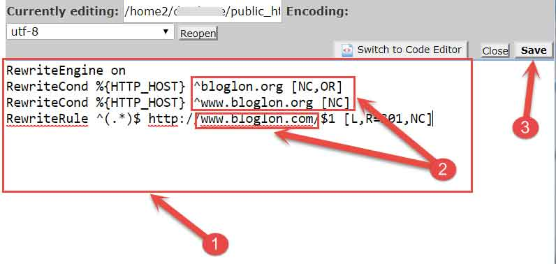 Add Redirection code in htaccess File
