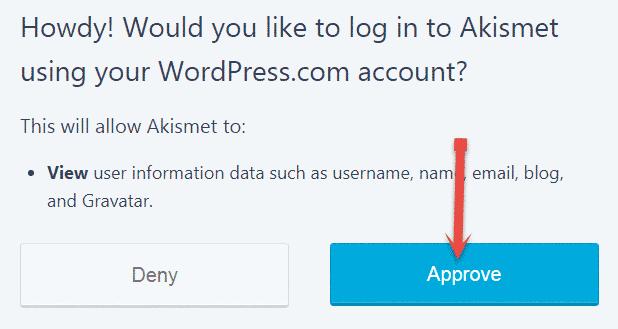 Approve Akismet plugin