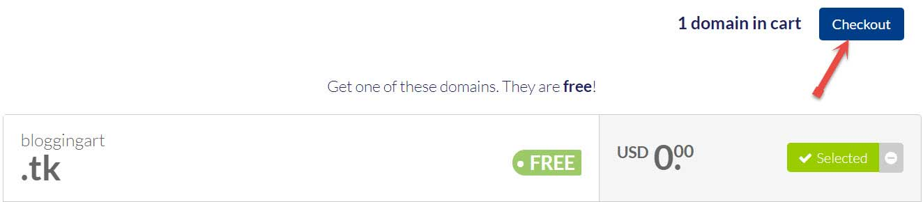 Checkout free domain