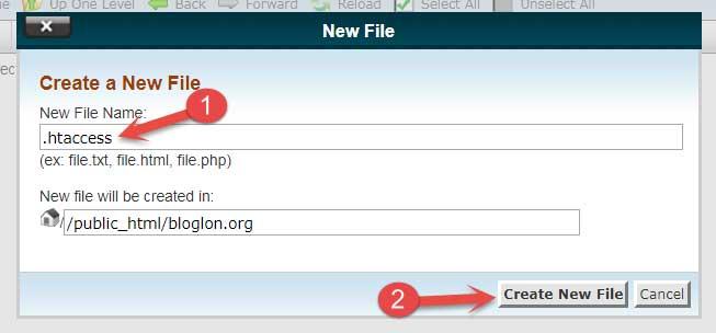 Create htaccess File