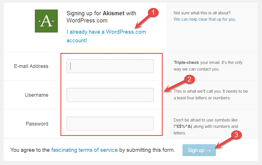 Wordpress.com sign up form