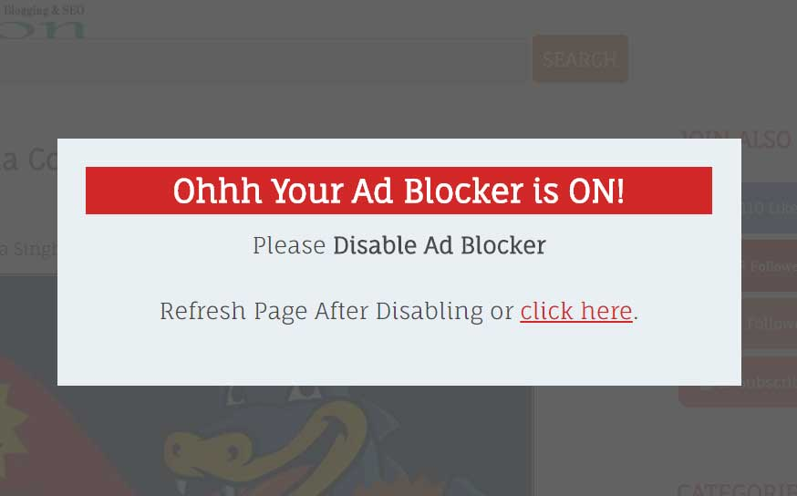 ad blocker disable message example