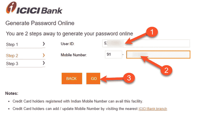 Generate Password online in step 2