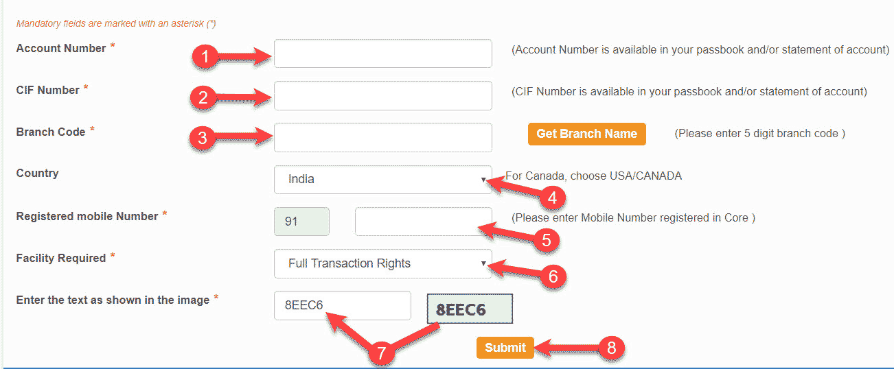 sbi online banking form bhare