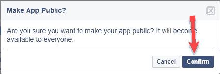 Confirmation Publish Facebook app