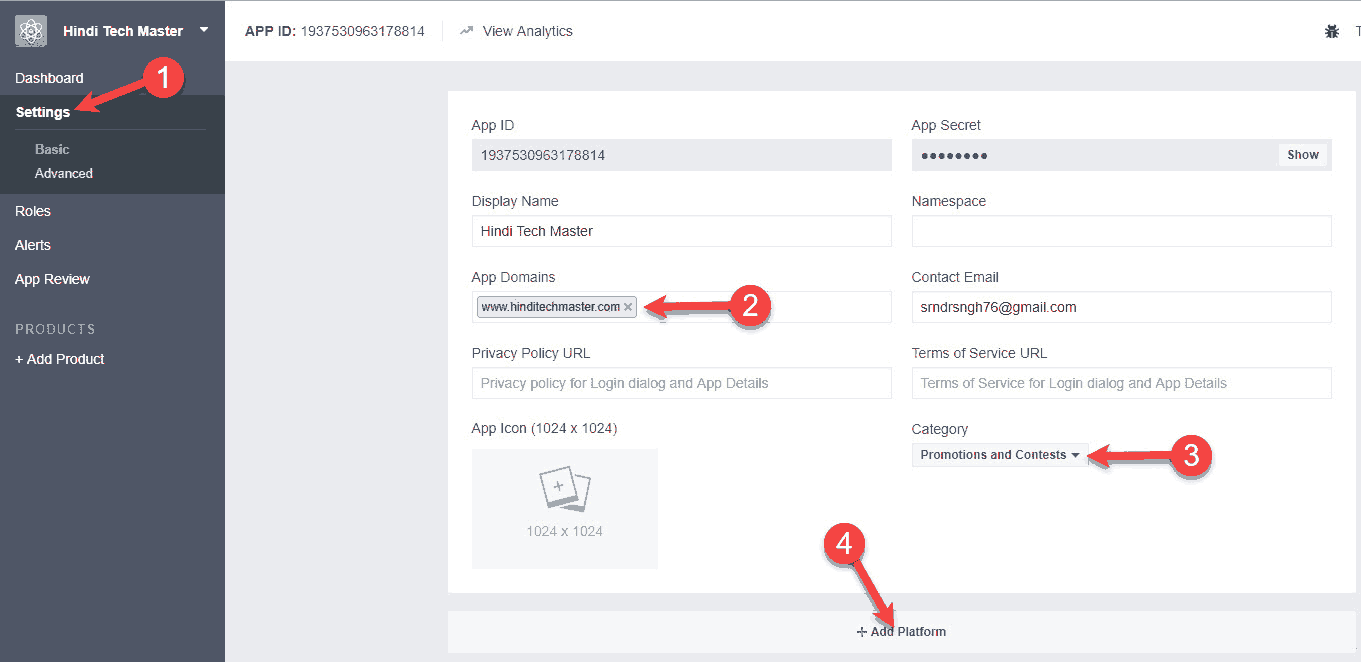 Facebook app id settings