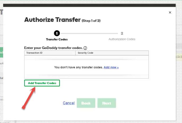 Add transfer codes