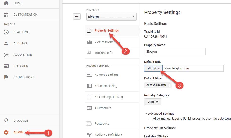 Update Google analytics Property