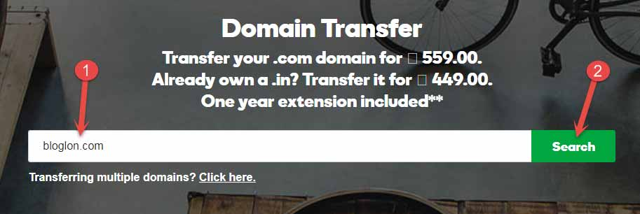 domain transfer on godaddy search