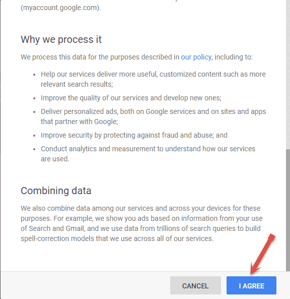 Agree Google Policy