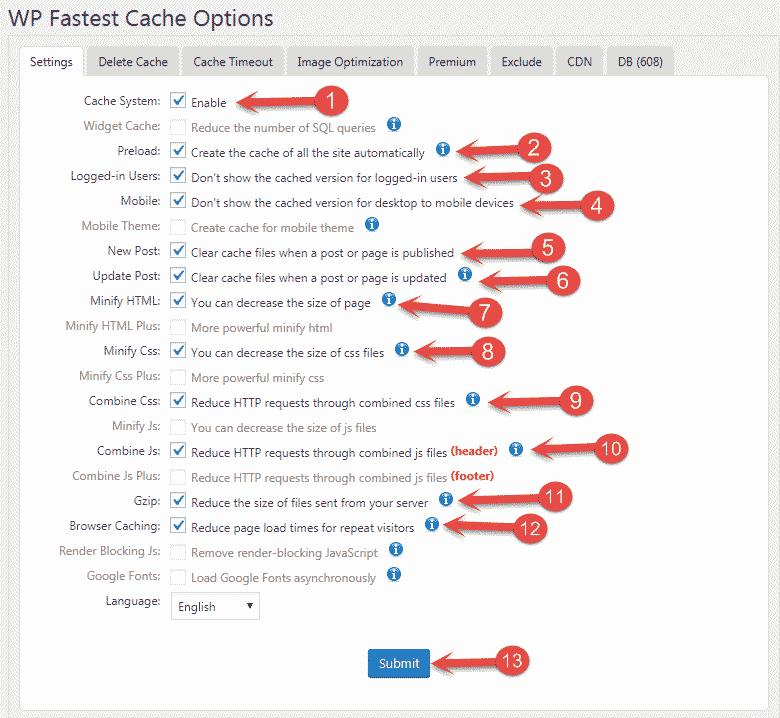 WP Fastest cache plugin settings