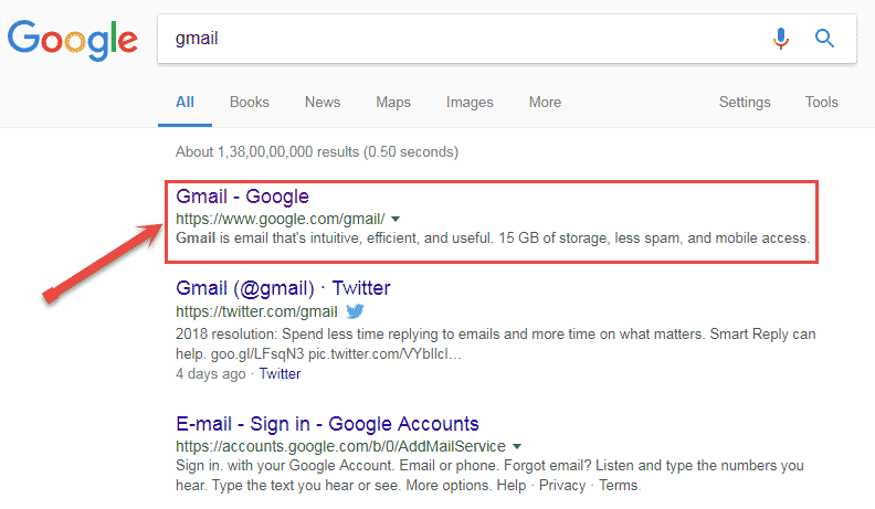 gmail account login url