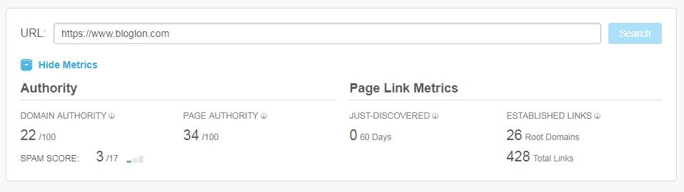 Bloglon Domain Authority Score