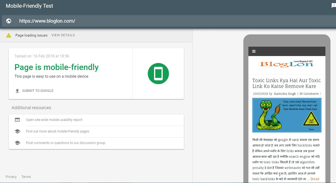 Bloglon Mobile-Friendly Test