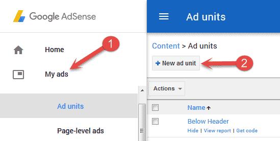 Create new ad unit