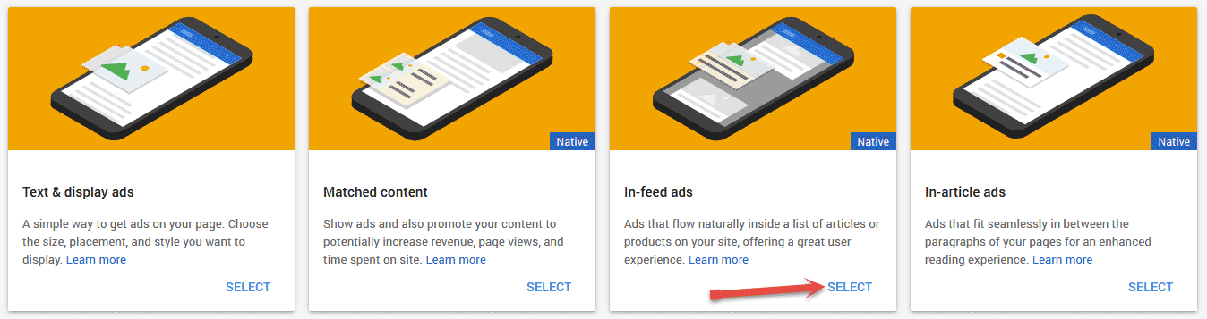 Select in feed ads