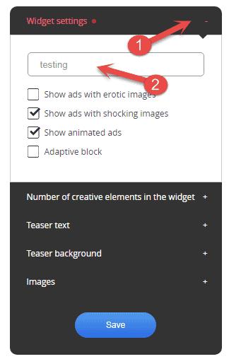 Adnow Widget settings kare