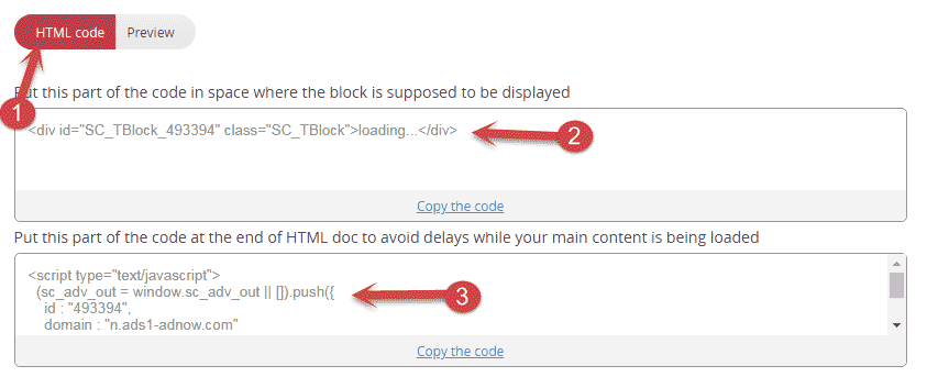 Copy Adnow HTML Code