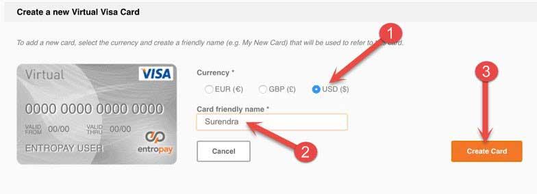Virtual card details Bhariye