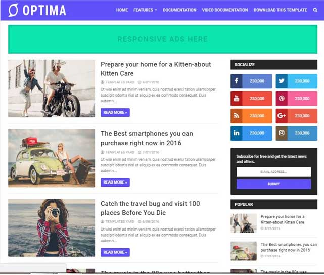 Optima Blogger Template