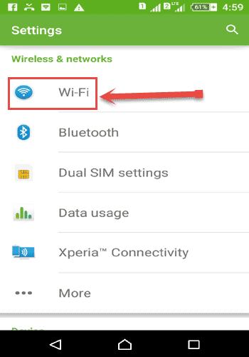 mobile का Wi-Fi ON करें
